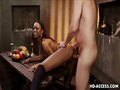 Ebony babe Marie Luv gets a white anal fuck