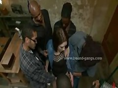 Gang forcing white slut to fuck
