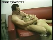 Blonde girl with tattoo forced to suck his dick