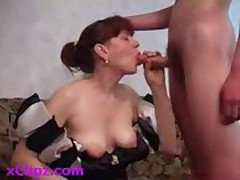 Mature lady fucks her young son