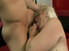 Facefucking granny on touching stockings pussyfucked
