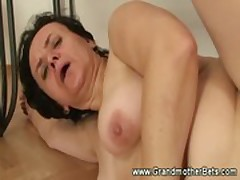 Sultry granny enjoys cock