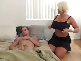 He touched her tits while she jerking off