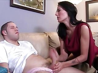 Stepmom handjob her boy