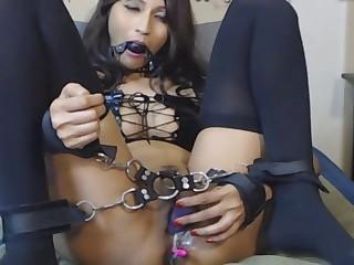Hot Asian Slut Solo Bondage and Squirt