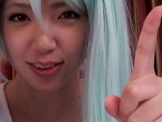 Japanese cosplay babe doggystyled