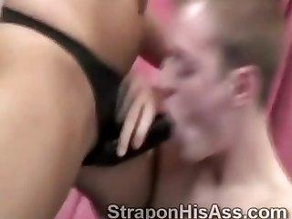 Slim brunette beauty tongues her mans little ass hole