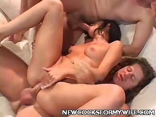 Sexy Wife Monica Breeze Enjoys Two Cocks!