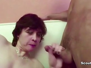 Hairy Mother Seduce Young Step-Son to Fuck her when Dad away