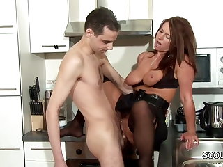 Step-Son Seduce MILF Mom to Fuck and Cum on Stockings