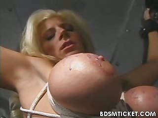 Huge tits are tied up