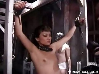 Breast and nipples in tight clamps
