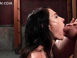 Kinky mistress gives BJ and bites hard cock
