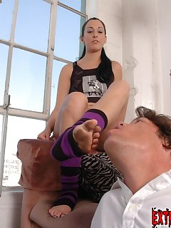 <!–-IMAGE_COUNT-–> of A submissive male licks dirty feet