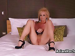Busty blonde milf goes crazy dildo video